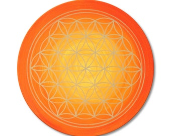 """Mural flower of life """"Sunrise"""" hand - painted - size 50 cm round - gold with acrylics - canvas 