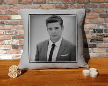 Zac Efron Cushion Pillow - Pop Art - Silver Grey - 100% cotton - 16x16 inches