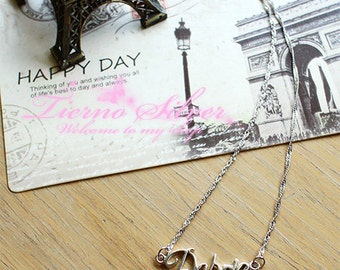 925 Sterling Silver Name Necklace Personalized name necklace with CZ Diamond