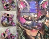 "5"" Steampunk Pink cat Mask"