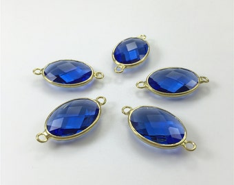 3pcs Navy Blue Glass Oval Connector,Faceted Glass Connector,Gold Bezel Connector,Bezel Jewelry Findings