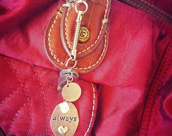 Stamped metal & faux crystal purse charm