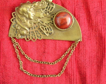 Art Nouveau Brass jasper dangle brooch
