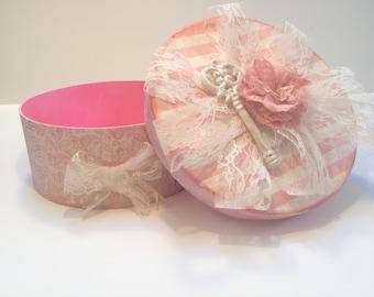 "Romantic Pink Box• Large lace shabby chic ""vintage"" jewlery trinket keepsakes wedding Valentines collage sewing storage altered mixed media"