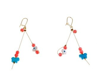 Handmade earrings with gold plated silver