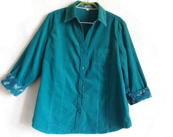 Teal Corduroy Shirt 3/4 Sleeves Cotton Blouse Teal Blouse Women's Shirt Buttons Down Blouse Everyday Shirt Women's Clothing Cotton Clothes