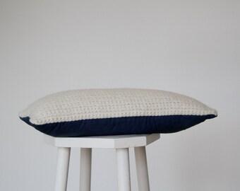 Wool and indigo rectangle cushion // throw pillow