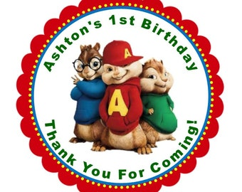 Alvin and the Chipmunks Stickers    Chipmunks Thank You Stickers and Tags