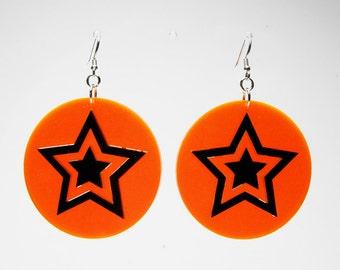 """1,8"""" Plexiglass earring mounted in 925 sterling silver, Star orange Fluo"""