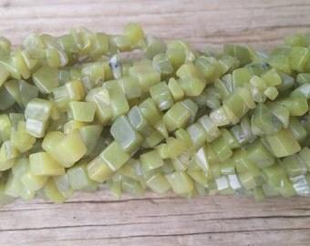 Korean Jade Chips 7-9mm, 36 Inch Strand