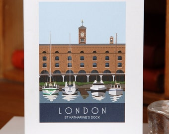 Greetings Card of St Katharine's Dock, London, Blue (Card ID: WOS050a)