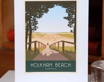 Greetings Card of Holkham Beach Boardwalk, Portrait