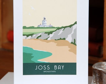 Greetings Card of Joss Bay and North Foreland Lighthouse, Broadstairs, Kent
