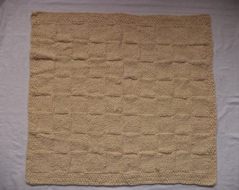 Baby blanket wool 80 x 70 cm knitted wool blanket rug Afghan white