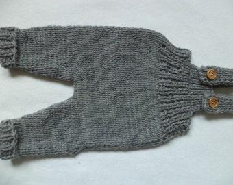 Bib & brace Dungarees 50/56 Merino Wool knitted pants baby pants