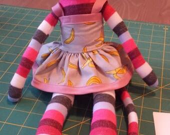 Sock Monkey in a Banana Dress