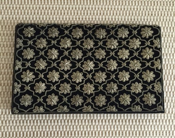 Vintage 50's black velvet clutch embroidered with silver thread