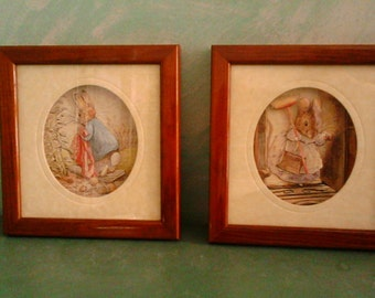 Beatrix Potter Peter Rabbit, checkered pair, 3d decoupage, 1991 Made in England