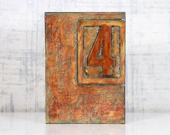 Abstract, Acrylic, Orange, Encaustic Original Painting - Cell Block No.4 by Jackie M Wood