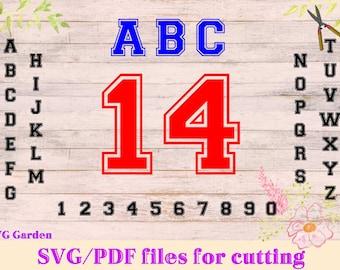 Varsity Monogram SVG font files for Cricut, Silhouette, Monogram SVG letters, vector numbers, sports font svg files, pdf, varsity font svg