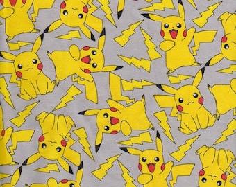 Pokemon - fabric - cotton lycra - stretch knit - 95/5 - four way stretch - Pikachu - childrens apparel fabric