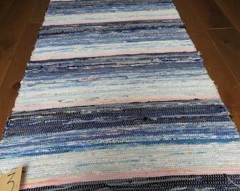 Vintage Swedish Handwoven Rag Rug 150 x 73 cms