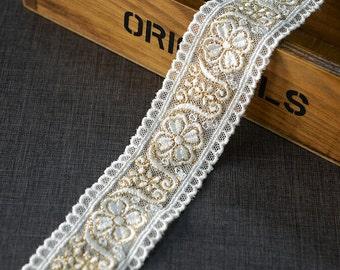 "10 yard 3.8cm 04.15"" wide gold mesh embroidery lace trim ribbon L22K559 free ship"