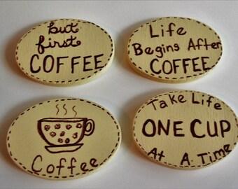 Wood Coffee Magnet Set