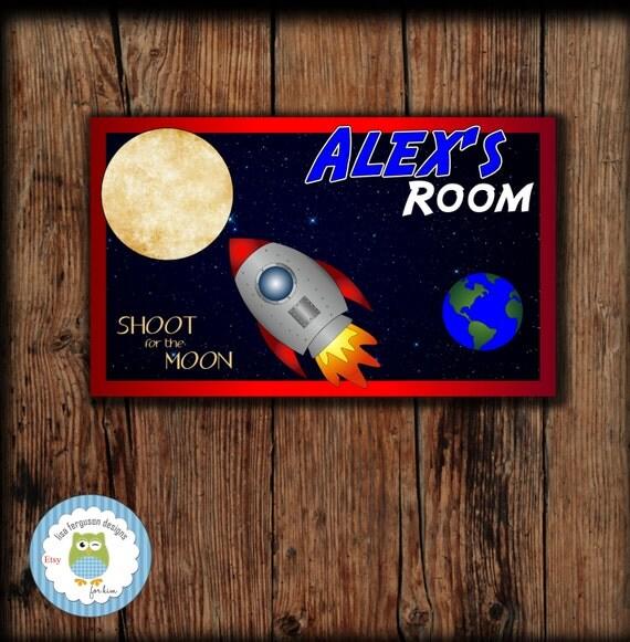 Personalized Rocket Bedroom Door Sign For Kids