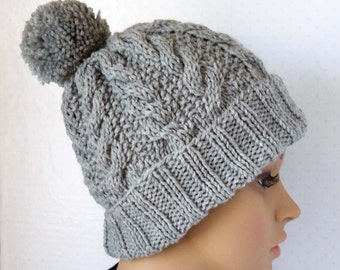 Knitted Cable Beanie, Womens Chunky Knit Hats, Pom Pom Knit Hat, Girls Knit Beanies, Winter Gray Hats, Cable Knit Hats