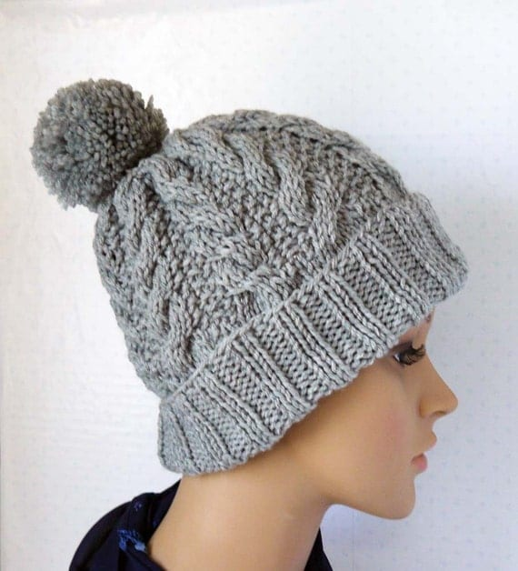 Knitting Pattern, Knitted Cable Beanie, Womens Chunky Knit ...