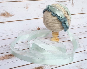 Crochet Baby Bonnet - Teal Bonnet - Newborn Baby Bonnet - Vintage Style Baby Bonnet - Girls Bonnet - Crochet Baby Hat - Baby Photo Prop