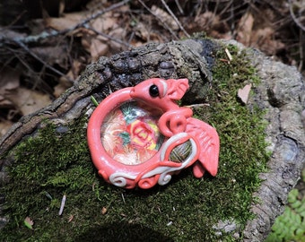 Cute Coral Colored Baby Dragon with Cab and Scarab