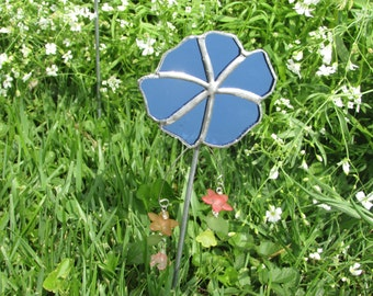 Stained Glass Flower Garden Stake ~ Blue Mirrored Stained Glass Flower Garden Art