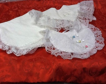 Set of Two Handmade Frilly Bibs and Burp Cloth