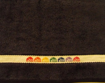 Brand new cross stitch hand towel-navy-white aida-bright houses-red-orange-yellow-great gift-house warming-christmas-birthday-mothers day