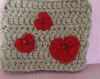 A hand crochet purse