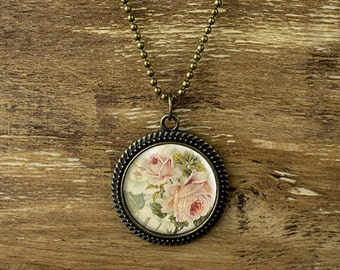 Vintage style rose pendant necklace, vintage rose necklace, flower necklace