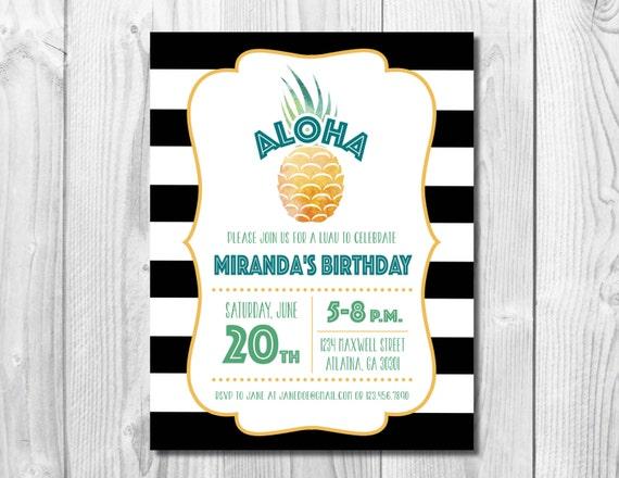 Pineapple Luau Invitation >> Birthday Luau Invitation << Pineapple Birthday Invite >> Summer Party >> Custom Printable Digital File
