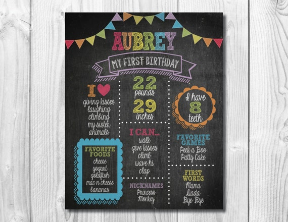 First Birthday Chalkboard Sign >> Rainbow Colors << 1st Birthday Poster >> Personalized/Custom Printable Digital File
