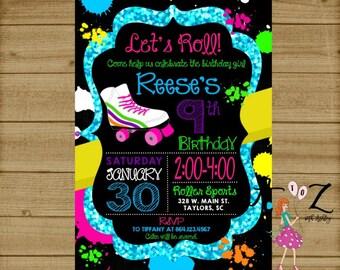 Skate Party Invitation, Roller Skating Invitation, Roller Skate Party,Roller Skate Chalkboard Invitation,Neon Party Invitation,80s Birthday