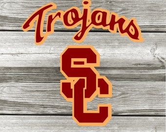 USC-Fight On-Trojans-University Of Southern California Vinyl Decal-Football-Team Spirit-Car-Coffee Mug-Canvas-Decor-College-