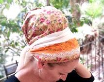 Decorated Flowery Cool Cotton Tichel, Multi color, Headscarf,Chemo Hat,Turban,Lace,Orange,Bandana,Apron,Head Cover,Jewish,Head Scarf,Sinar