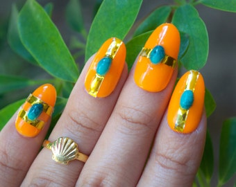 Cactus Cool & Turquoise Gel Press on Nails Set