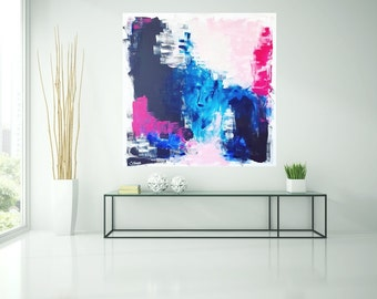 Abstract image, blue, pink, black, acrylic, painting, art, painting, blue, black, original art by Camilla Schima