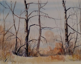 Original watercolor artwork, Winter Trees