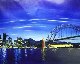 Large Canvas Wall Art Acrylic 100% Hand Painted Sydney Skyline at Night 60x120cm