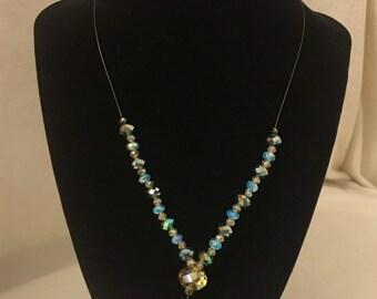 Aqua Bubble Charm Necklace