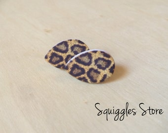Hypoallergenic Stud Earrings with Titanium Posts - Leopard Animal Print Wood - Sensitive Ears