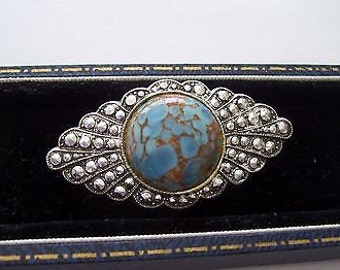 Vintage Art Deco Marcisate Affect MURANO GLASS CABOCHON Brooch